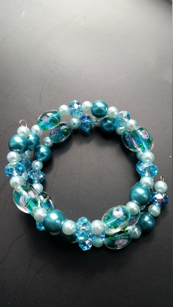Aqua memory wire wrapped bracelet