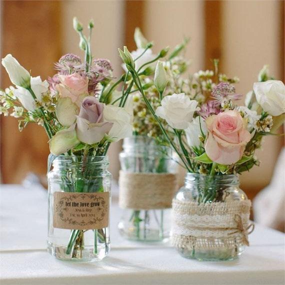 Traditional 'Mason Style' Glass Jar - Wedding Centrepiece/Decoration 9.5cm diameter/17.5cm height