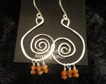 Sterling silver earrings with Carnelian accents