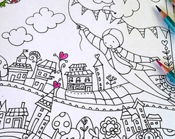 Coloring Poster Posters Activity Family Activities Whimsical Flying