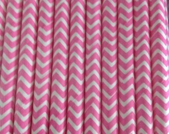Pink Chevron Paper Straw (pack of 25)