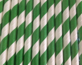 Green and White Striped Straw (pack of 25)