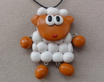 Necklace white sheep, Fimo