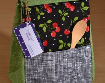 Insulated Lunch Bag - Cherries, Teachers Lunch Bag, Office Lunch Bag