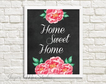Home Sweet Home Chalkboard Printable Art (8x10) - Chalkboard Art / Home Decor / Office Decor / Bedroom Art / Printable Art / Home Sweet Home