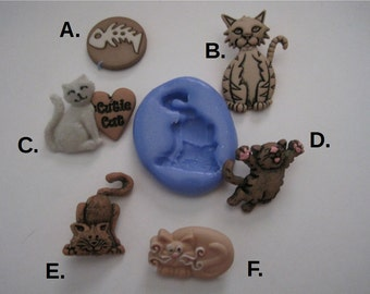 Cats Silicone Molds - Cat Molds - Food Safe Molds - Fondant Molds - Flexible Molds - Resin Molds - Cake Decorating Molds - Moulds - Molds