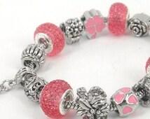 "Pink Charm Bracelet Pandora Style 7 1/2"" inches long European Beads"