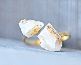 Double Rock Ring, Adjustable Rock Ring, Nature Inspired Rock Ring, Adjustable Gold Ring, Natural Rock Ring, Two Rocks Ring, Rock