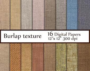 "Burlap digital paper: ""BURLAP PAPER"" linen  jute texture  rustic texture scrapbooking  natural burlap Instant download"