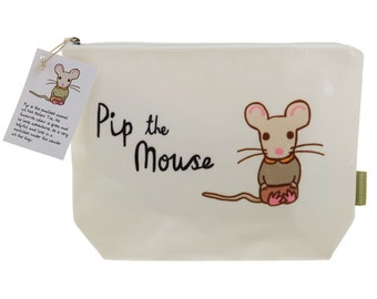 Cream Wash Bag - Pip the Mouse