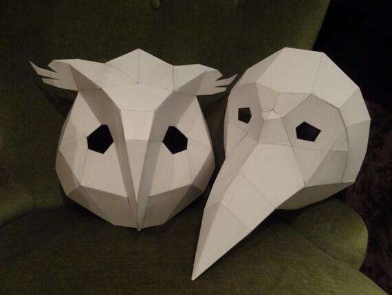 Printable masks make your own owl mask bird mask instant printable masks make your own owl mask bird mask instant download diy cardboard masks pronofoot35fo Images