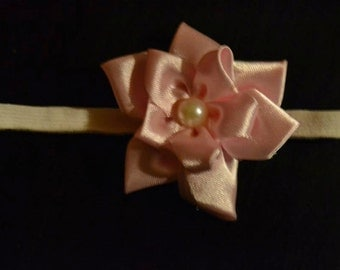 Headband single pink flower / pink simple flower headband