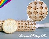Embossing rolling pin for cookies laser engraved cookie decorating molds poker poke Spade Heart cookies