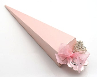 10 Pink Satin Cone Favour Boxes