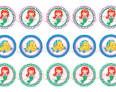 "Little Mermaid Ariel Inspired Bottle Cap Images Instant Download 1"" Round Circles Rounds"