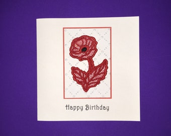 Red Poppy Lace Effect Embroidered Birthday Card