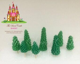 Edible 8 Marshmallow Fondant Evergreen Trees