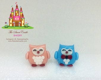 Edible 2 - 3D Fondant Owls Cake or Cupcake Toppers