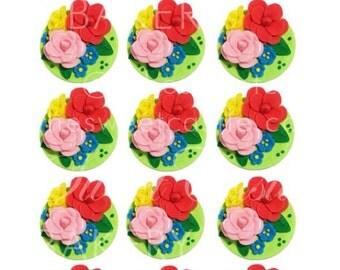3D Garden Fondant Edible Flowers Cupcake Toppers - 12 pack