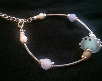 Bangle style Bracelet with semi precious stones
