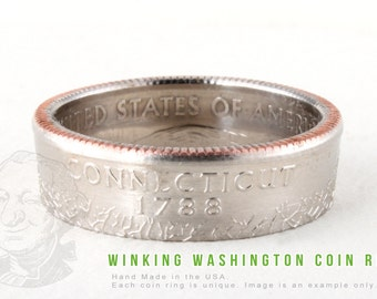 COIN RING - Connecticut State - Handmade in the USA - All Sizes Available