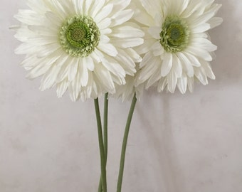 "Large White Silk Gerbera Daisy Flower, Faux, Artificial, Silk Wedding Flowers - 29"" Tall"