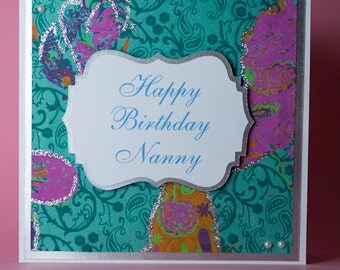 Plaque with Butterfly Sparkly Background Handmade Birthday Card