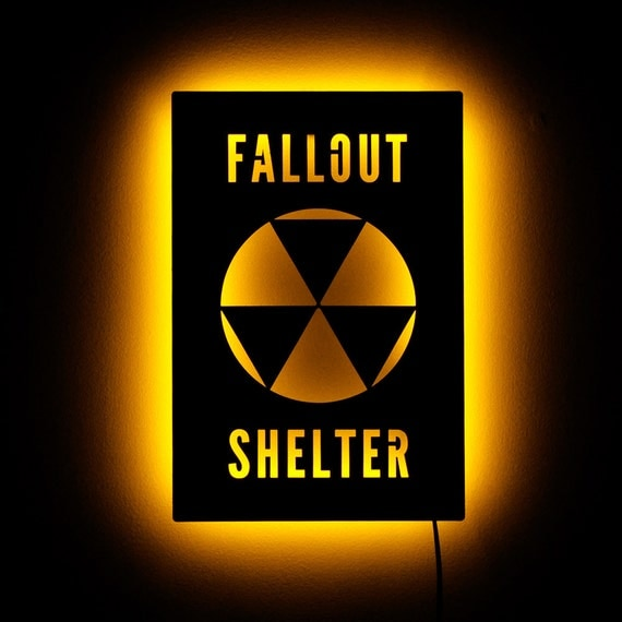 Lighted Fallout 4 Shelter Sign Nuclear Apocalypse by HaloLights