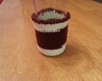 Striped crochet cozie-cream and brown