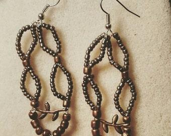 Silver/Bronze Bead Branch Chandelier Earrings