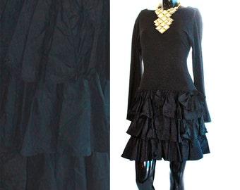 Black Long Sleeve 3 Tiered Ruffle Bottom 80s Mini/Party Dress