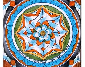 """Majolica tile """"Star flower"""""""