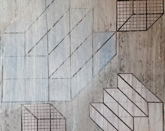 Original Abstract Modern Industrial Architectural Geometric Painting Mixed Media Collage Gray Stair 11