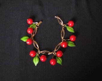Red Cherries Bracelet - Bakelite or Lucite