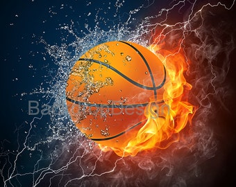 Basketball Backdrop - fire and water,orange - Printed Fabric Photography Background G0044