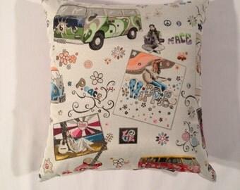 Australian made cushion, retro style, hippies and combi vans