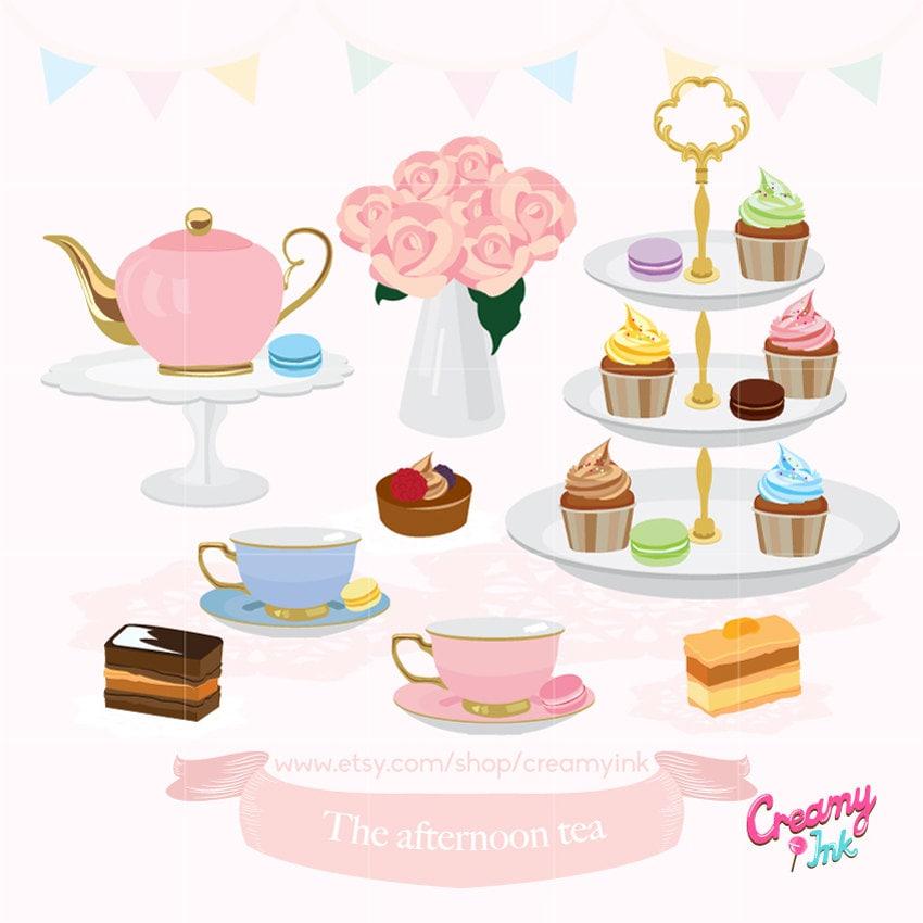 Afternoon Tea Party Digital Clip Art / English High Tea