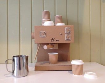 Toy Cardboard Cappuccino Machine with Small Cups and Jug, Kids Toy.