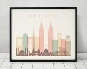 Kuala Lumpur print, Poster, Wall art, Malaysia Kuala Lumpur skyline, City poster, Typography art ,Home Decor, Digital Print ArtPrintsVicky.