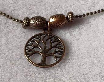Copper tree of life necklace on a copper ball chain. Available with or without accent beads.