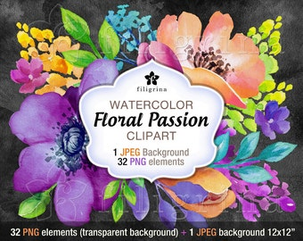 Floral Passion WATERCOLOR clipart. 32 PNG floral elements, 1 JPEG background 12x12, digital floral and leaves arrangement. Read about usage