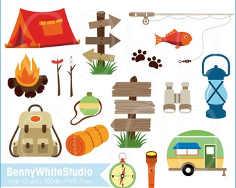 Camping and Fishing Clip Art, For Personal and Small Commercial Use. B-0004.