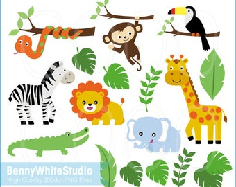 Safari Jungle Animals Clip Art. For Personal and Small Commercial Use. B-0013.