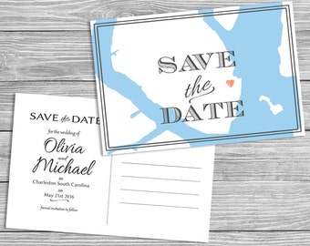 Destination Map Save the Date - Charleston, SC, Printable Digital File or Request Prints