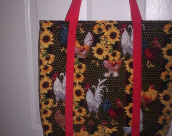 Chickens/Sun Flowers Print,Quilted Double Face Fabric,Washable!
