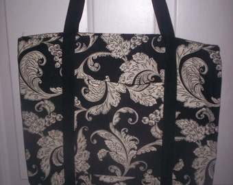 Black/white Tote! Heavy Cotton Fabric,Washable, Lined