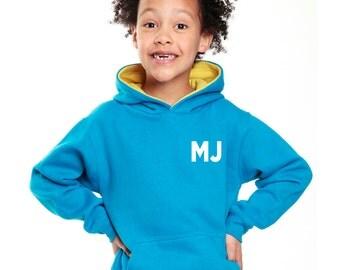 kids personalised hoodie sizes: ages, 3-4, 5-6, 7-8, 9-11 years.