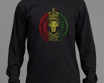 Mens Black Crowd lion of Judah long sleeved Tee RLW372