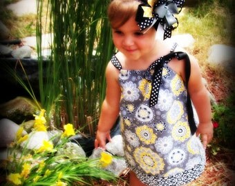 Gray and Yellow Pillowcase Dress--Sundress--Matching Hair Bow