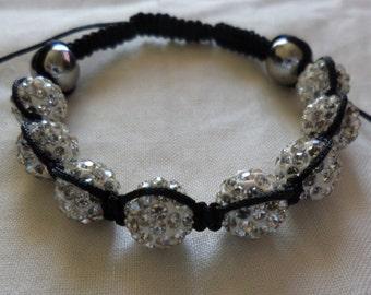 White on Black - Shamballa Bracelet